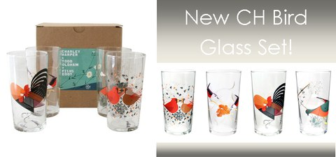 New set of Four Charley Harper Bird Glasses