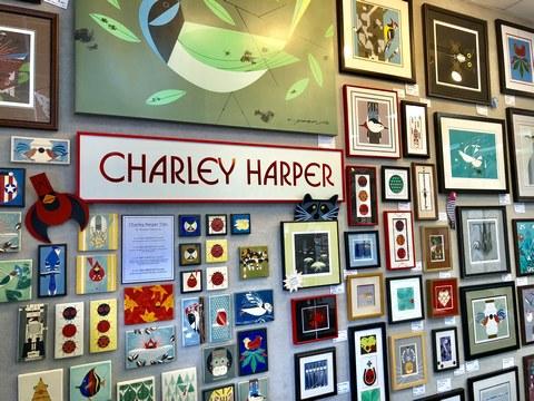 showcase of Charley Harper artwork inside Kenwood store